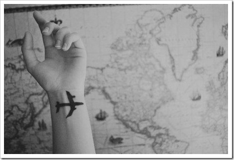 Black and white tatoo idea airplane