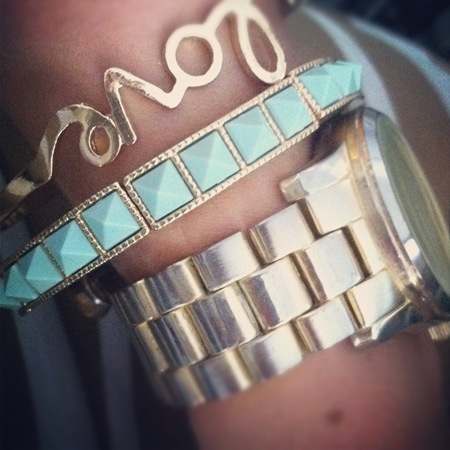 Stacked Mint and Gold Bracelets