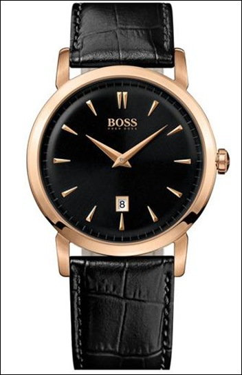 BOSS Black Round Leather Strap Watch