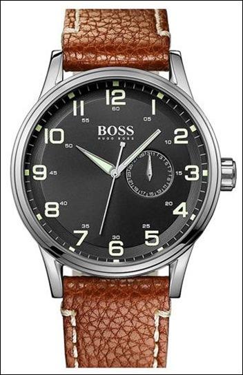 BOSS Crocodile Round Leather Strap Watch