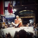 Uber bendy contortionist entertaining the crowds at Henri Bendel's for FNO