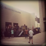 The entrance to the MB Tents for NYFW