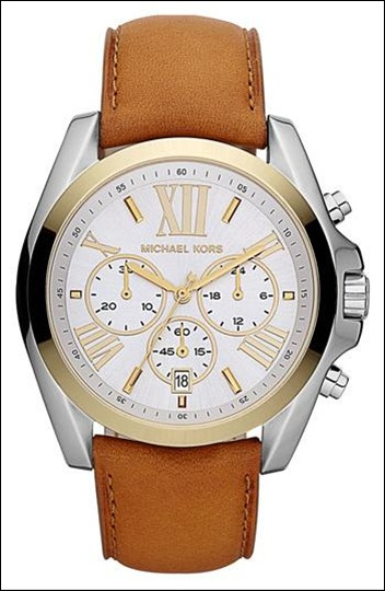 Michael Kors 'Bradshaw' Leather Strap Watch