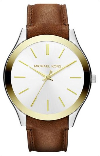 Michael Kors 'Slim Runway' Leather Strap Watch