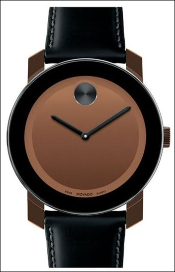 Movado 'Bold' Leather Strap Watch