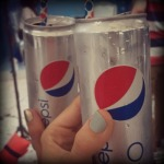 Pepsi power inside the Mercedes Benz tents