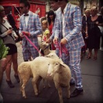 One of many strange NYFW occurences. Men in plaid suits being interviewed with their sheep on pink leashes.